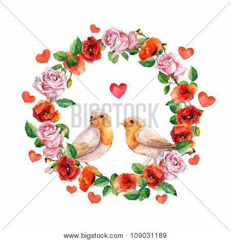 Two birds in love with heart. Rose and poppy flowers - vintage design for wedding card. Retro floral