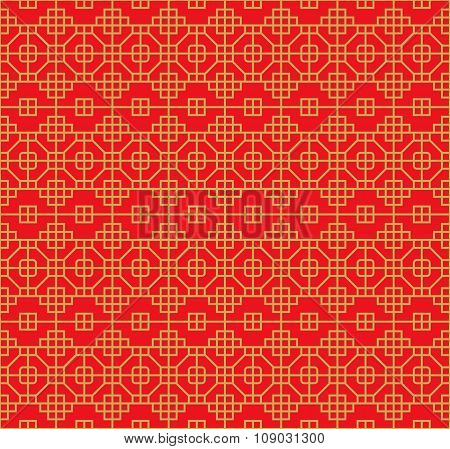 Golden seamless Chinese style lattice square octagon geometry pattern background.