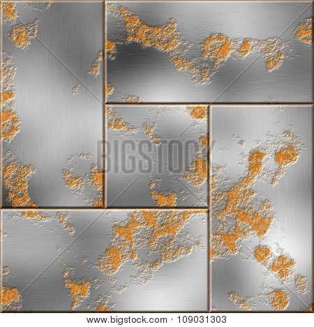Rusty steel plates. Iron defense. Armor seamless texture background