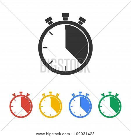Stopwatch Icon, Vector Illustration. Flat Design Style,