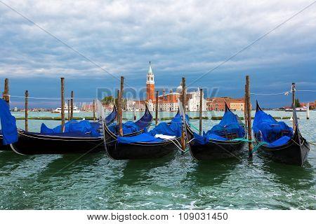 Gondolas On The Grand Canal Against The Background Of The Church Of San Giorgio Maggiore, Venice, It