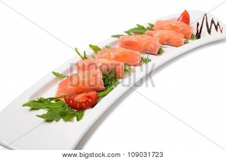 Rolled smoked salmon platter.
