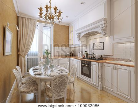 Kitchen In Classical Style With A Dining Table.