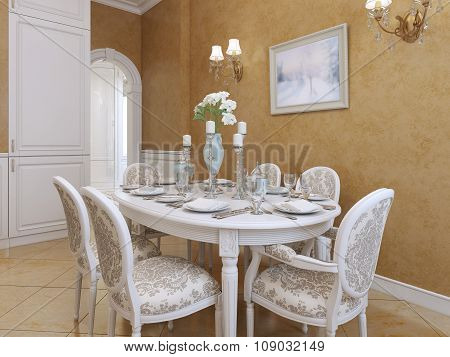 White Dining Table With Six Chairs In A Classic Style.