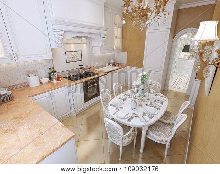 White Corner Kitchen In Classical Style.