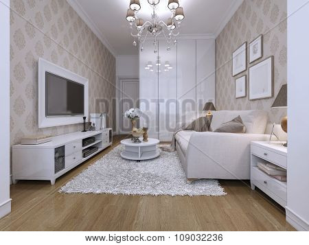 Guest Room In A Modern Style With Classical Wallpaper.
