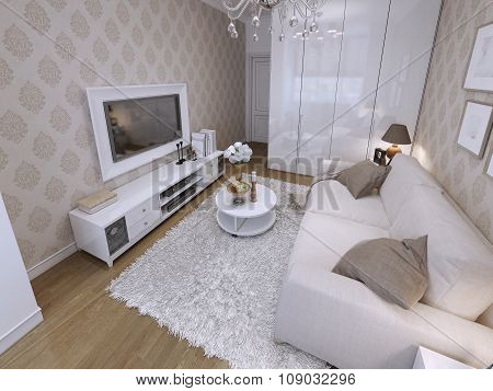Modern Living Room With White Wardrobe And Audio With Tv.