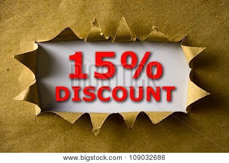 Torn Brown Paper With 15% Discount Words
