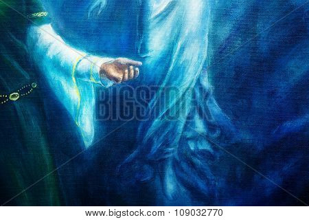 mystic woman hand in historical dress with ornament and angel hand. Spiritual concept . Painting on