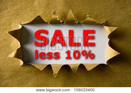 Torn Brown Paper With Sale Less 10% Words