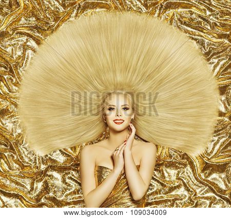 Hair Style Fashion Model, Woman Hairstyle Long Straight Hair, Golden Color