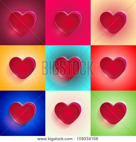 set Big Red Heart