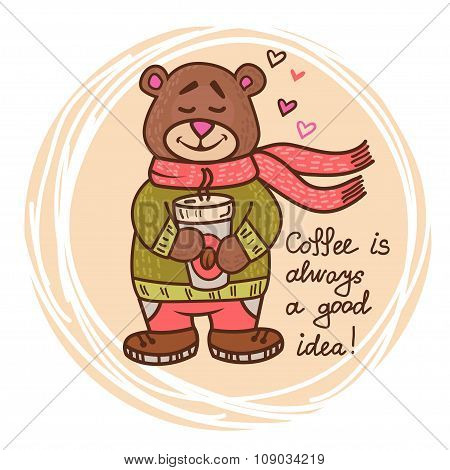 teddy bear with coffee