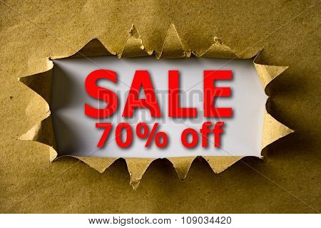 Torn Brown Paper With Sale 70% Off Words