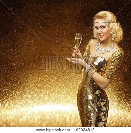 Woman Gold, Vip Lady With Champagne Glass, Fashion Model Rich Retro Golden Dress
