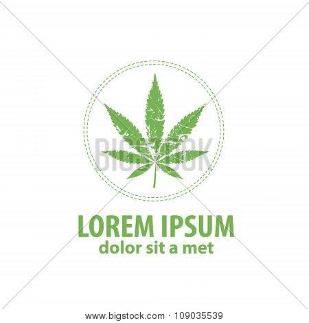 Logo cannabis leaf. Suitable Clothing made from hemp.