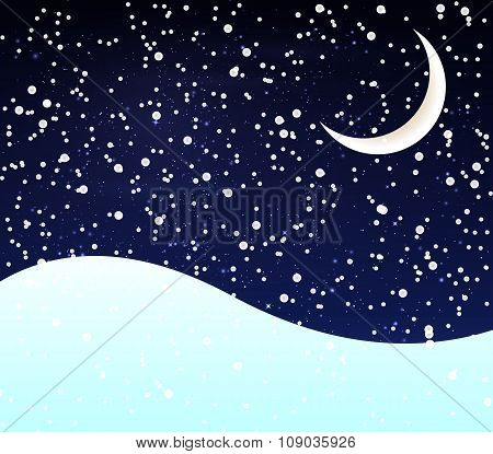 Snow At Night Crescent