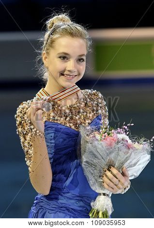 Elena Radionova Poses With Silver Medal