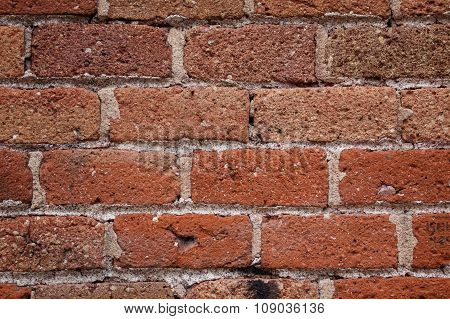 Masonry Background With Red Bricks