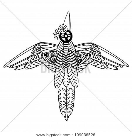 Flying Metal Bird draw in steampunk style. Black on white isolated silhouette. Line art.