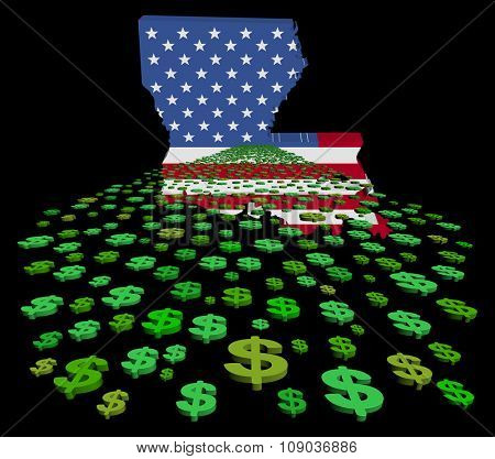Louisiana map flag with abstract dollars illustration