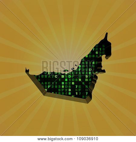 UAE sunburst map with hex code illustration