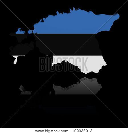 Estonia map flag with reflection illustration