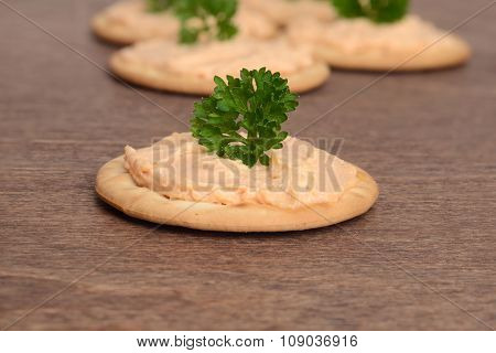 macro salmon pate on cracker