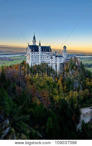 Castle Of Neuschwanstein Near Munich In Germany On An Autumn Day