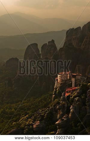 Dramatic landscape of monastery in Meteora mountains
