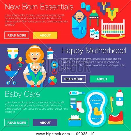 Baby Gear Essentials Vector Banners