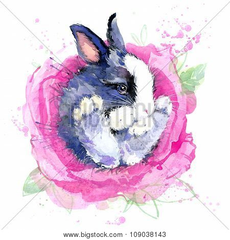 Cute bunny flower fairy T-shirt graphics. bunny fairy illustration with splash watercolor textured b