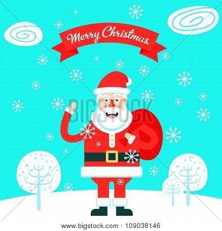 Merry Christmas Greeting Card With The Cheerfull Santa Claus