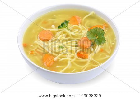 Noodle Soup In Bowl With Noodles Isolated
