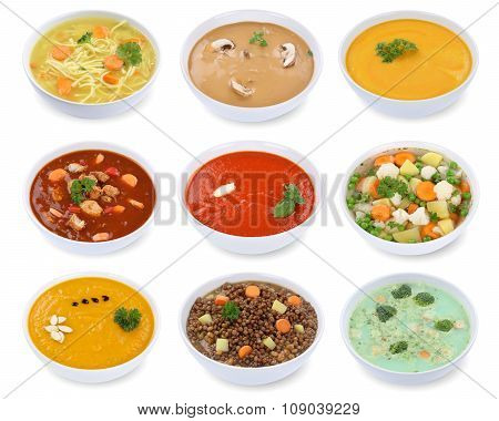 Collection Of Soups Soup In Bowl Tomato Vegetable Noodle Isolated