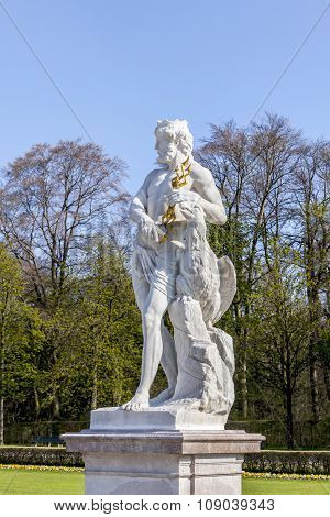 Statue Schloss Munich, Nymphenburg Palace On Sunny Day