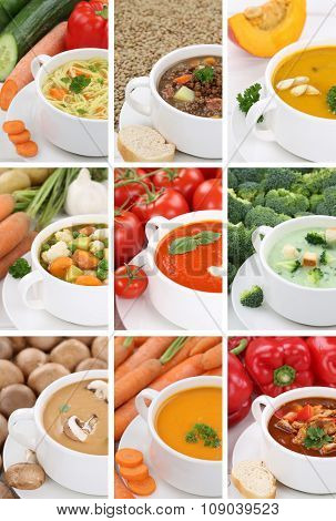 Collection Of 9 Soups in Bowls Tomato Vegetable Noodle Closeup