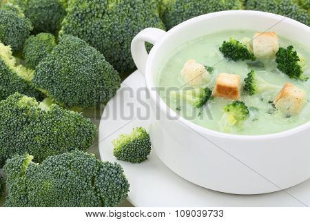Broccoli Soup In Cup Closeup