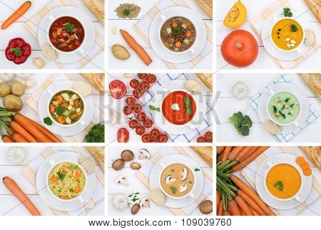 Collection Of 9 Soups In Bowls From Above