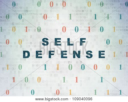 Safety concept: Self Defense on Digital Paper background