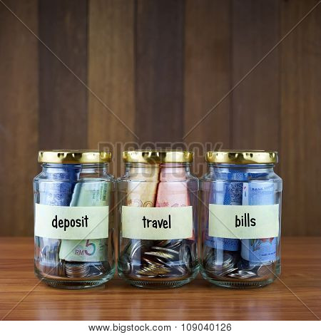 Image Of Money In Clear Bottles With Deposit, Travel, Bills Labels.