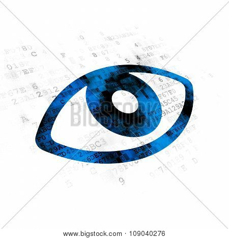 Protection concept: Eye on Digital background