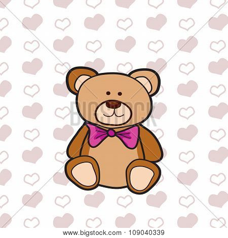 Brown Bear On Heart Pattern