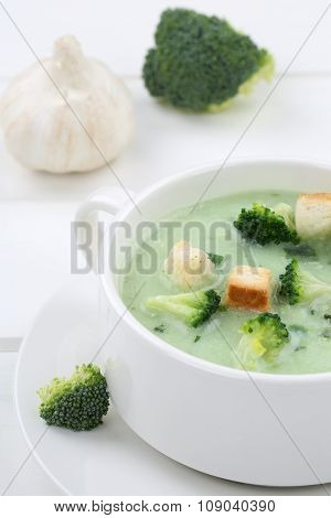 Fresh Broccoli Soup In Bowl Closeup