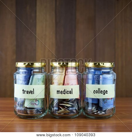Image Of Money In Clear Bottles With Travel, Medical, College Labels