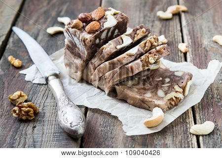 Chocolate Fudge With Different Kinds Of Nuts