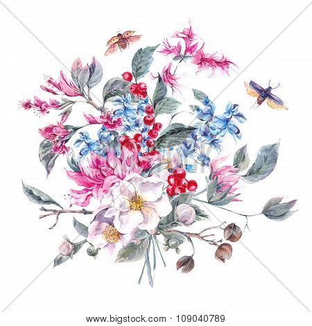 Vintage Greeting Card with Floral Bouquet and Beetles