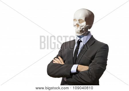 Skeleton in business suit isolated on white