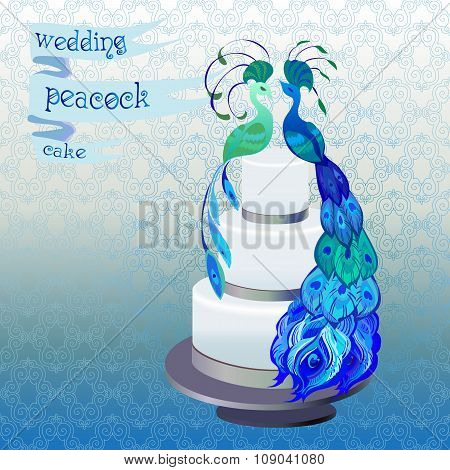 Wedding cake with couple peacocks. Blue, green vector design.