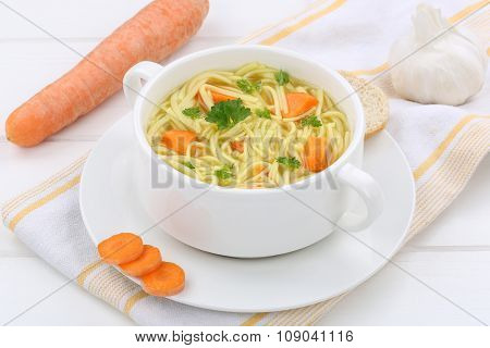 Noodle Soup In Bowl With Baguette